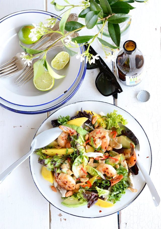 Gala Prawn, Mango, Avocado, and Chicken Salad With Spicy Peanut Dressing