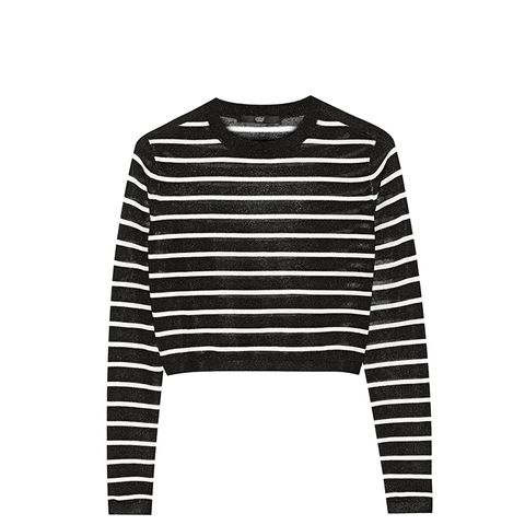 Cropped Striped Knitted Sweater