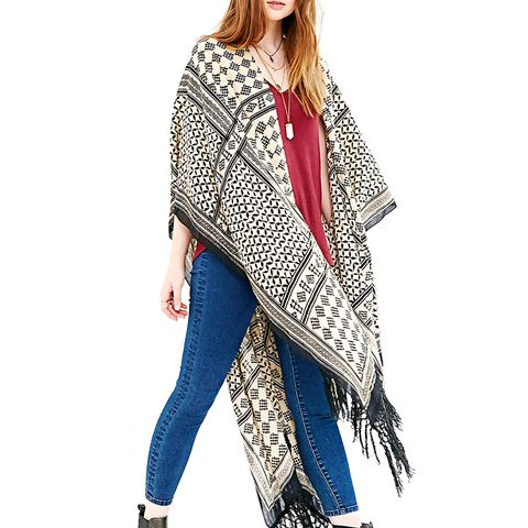 Patchwork Fringe Duster Open Poncho