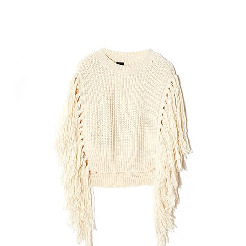 Knitted Cape With Fringe Detail