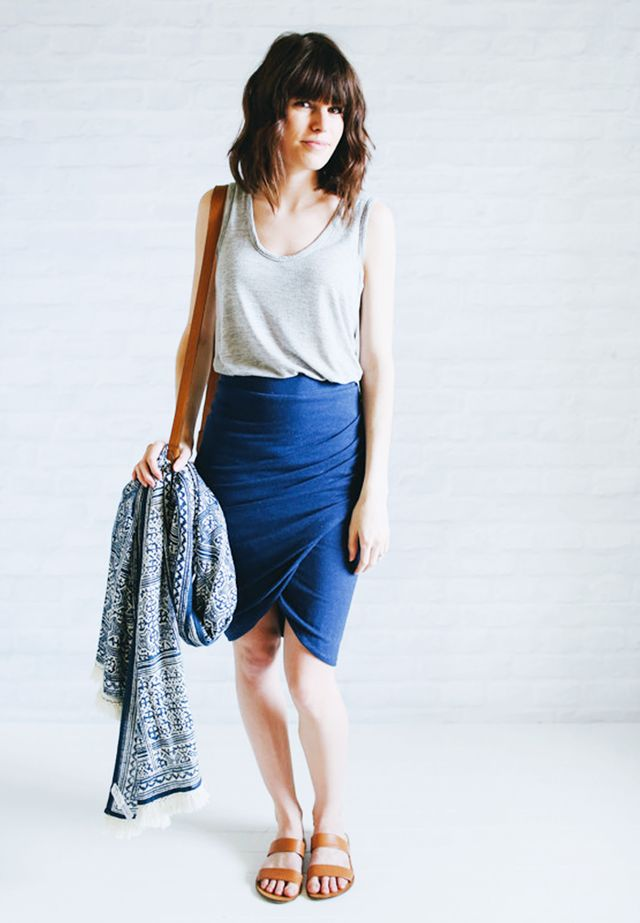 Gray tank + Wrap skirt + Slip-on Sandals