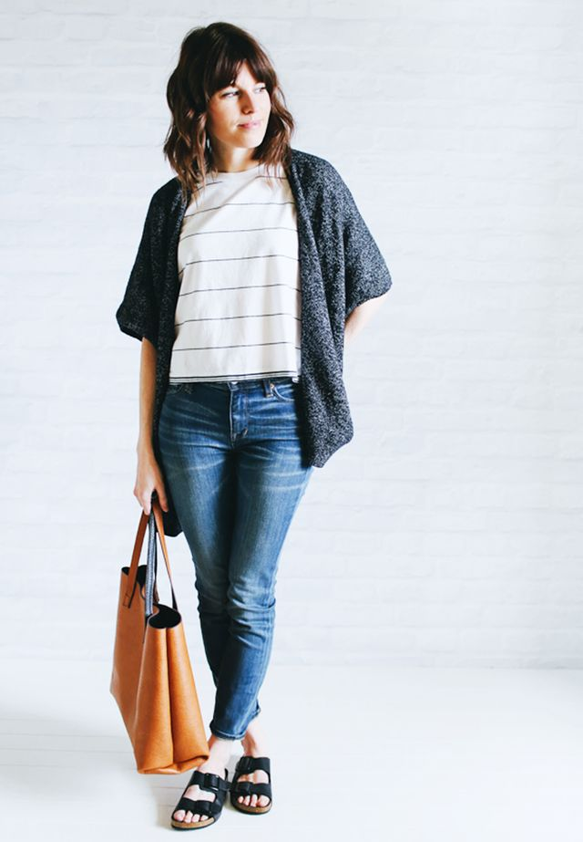 Cape cardigan + Striped shirt + Skinny jeans + Birkenstocks