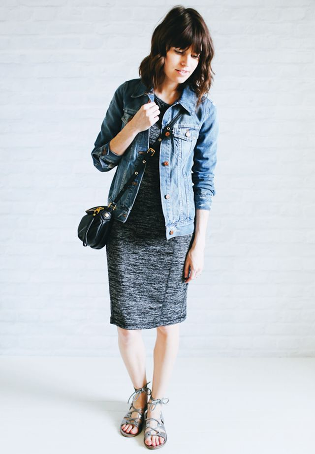 Jean jacket + Gray dress + Lace-up heels