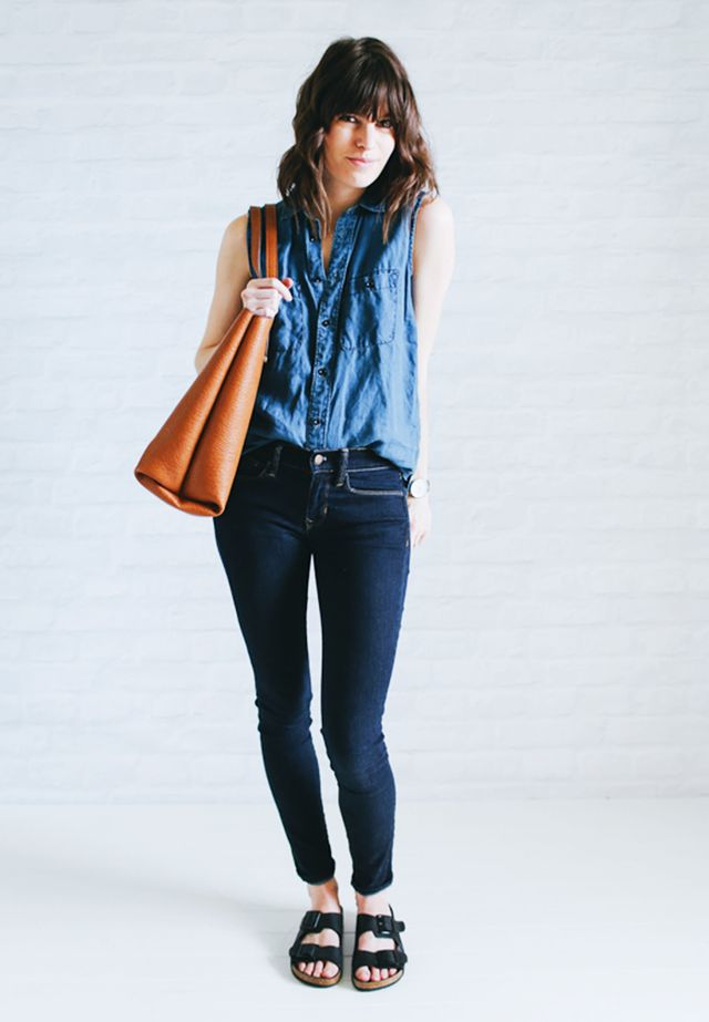 Sleeveless denim shirt + Indigo jeans + Birkenstocks