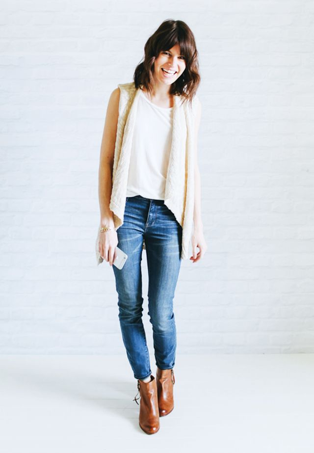Knit vest + White tank + Skinny jeans + Ankle Boots