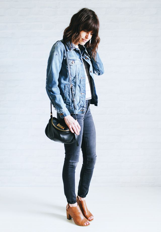 Jean jacket + Striped shirt + Gray jeans + Open-toe boots