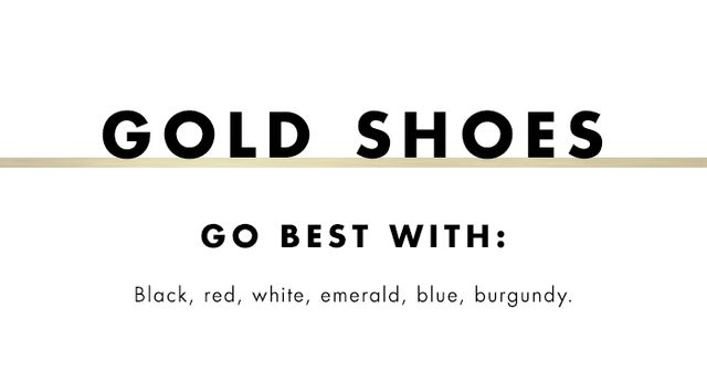 What to wear with coloured heels: gold shoes