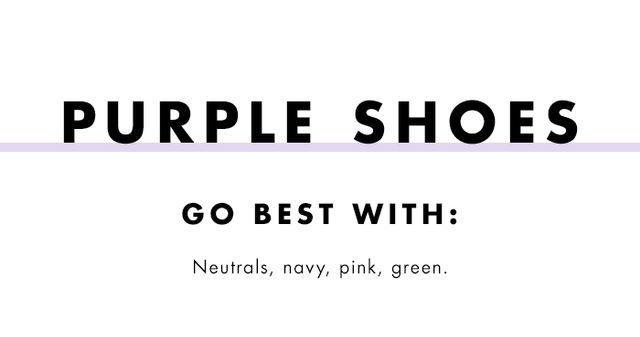 What to wear with coloured heels: purple shoes