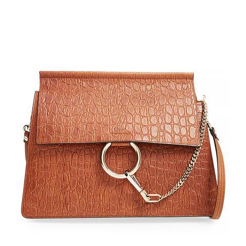 Faye Croc Embossed Leather Shoulder Bag