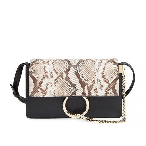 Small Faye Genuine Python & Leather Shoulder Bag