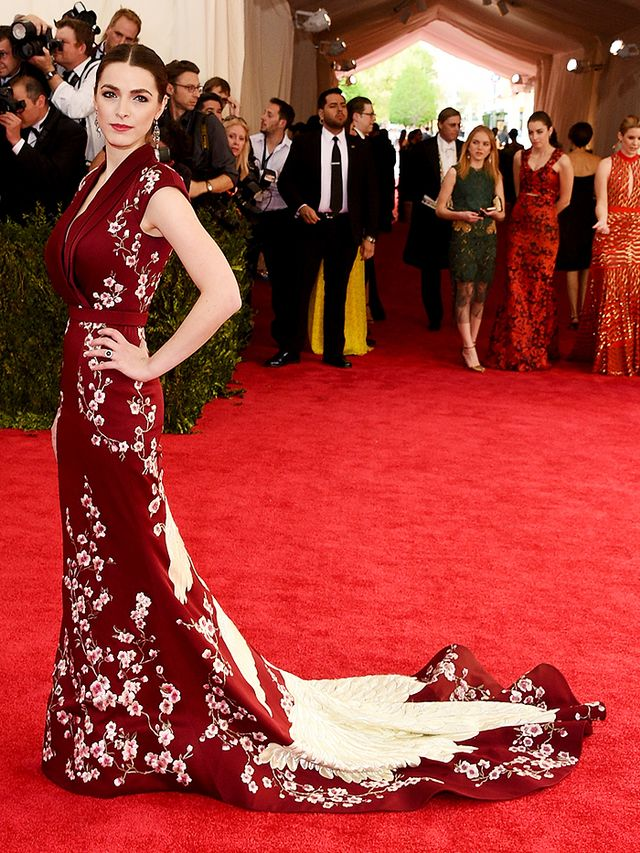 WHO: Bee Shaffer WEAR:Alexander McQueencustom burgundy embroidered gown.