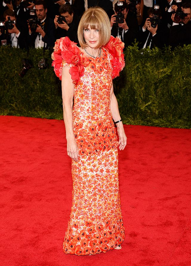 WHO: Anna Wintour WEAR: Chanel Haute Couture gown.