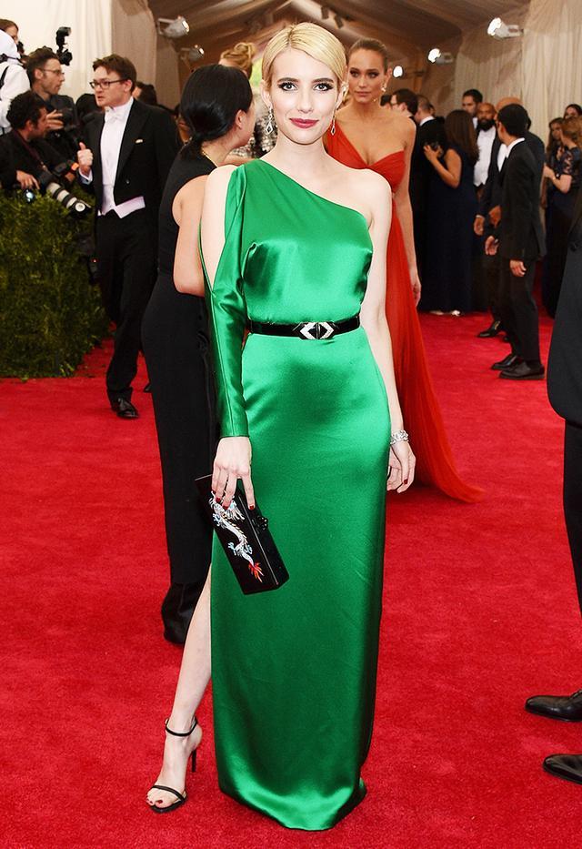 WHO: Emma Roberts WEAR: Ralph Lauren green silk gown; Monique Pean three-tier kite-shaped diamond earrings; Edie Parker clutch.