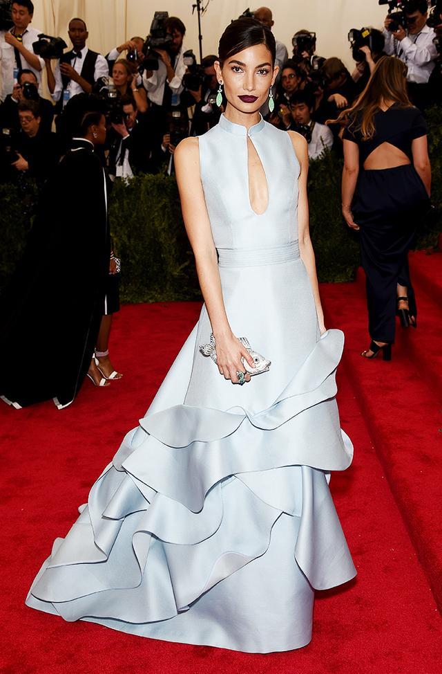 WHO: Lily Aldridge WEAR: Carolina Herrera gown.