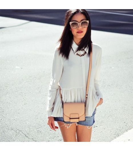9to5chic is wearing: Tibi shirt, Celine sunglasses, Loeffler Randall bag.