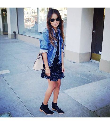 Sincerelyjules is wearing: Levi's jacket, Twelfth Street by Cynthia Vincent Dress, Loeffler Randall booties. Posted by Loefflerrandall.