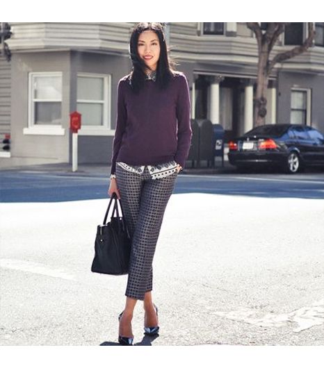 9to5chic  Get The Look: J.Crew Cafe Capri In Rope Print ($110)  See more ways to wearprinted pants on Pose.com.
