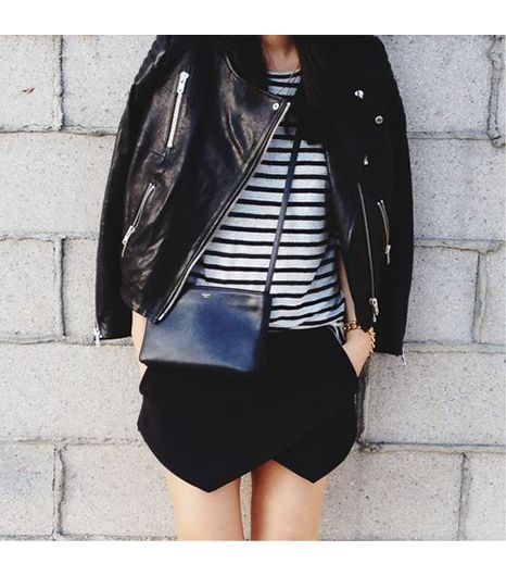 Andyheart is wearing: H&M jacket, Celine bag, Zara skirt, T by Alexander Wang shirt.
