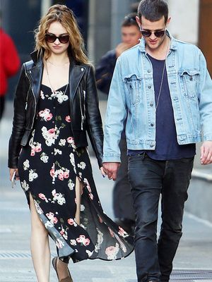 Trend to Try: Floral and Leather, Courtesy of Lily James
