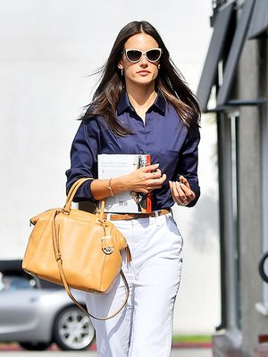 A Professional Look for White Flared Trousers, Courtesy of Alessandra Ambrosia