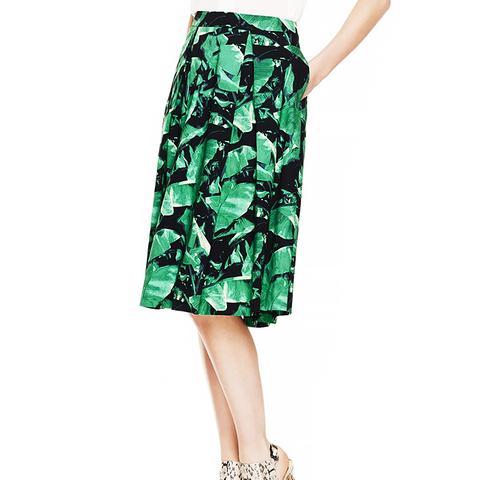 Island Palm Pleat Midi Skirt