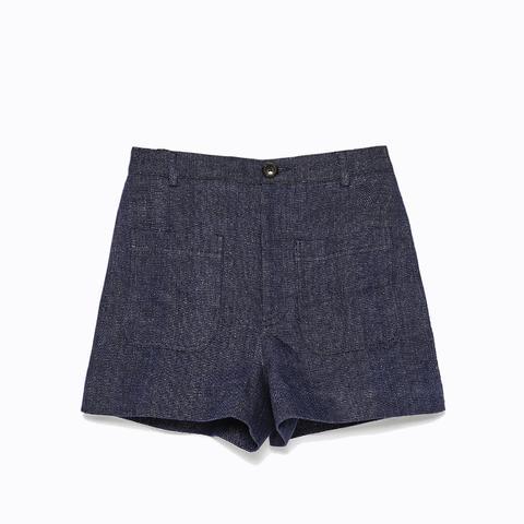 Patch Pockets High Waist Shorts