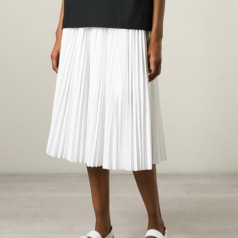 Open Slit Pleated Skirt