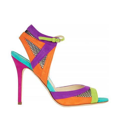 Lara Mesh-Paneled Color Block Suede Sandals