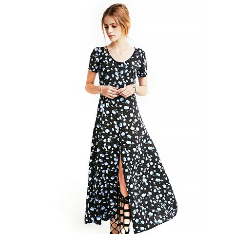 Buttoned Floral Maxi Dress