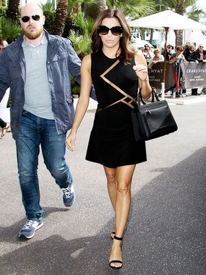 So Chic! Eva Longoria's Sheer Mesh Little Black Dress