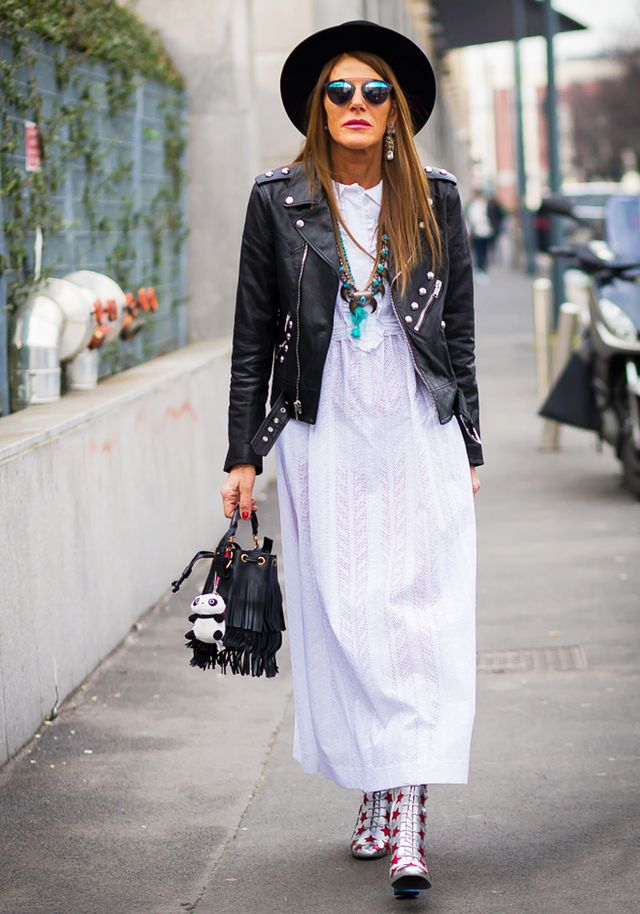 Leather jacket with long dress – Jackets photo blog