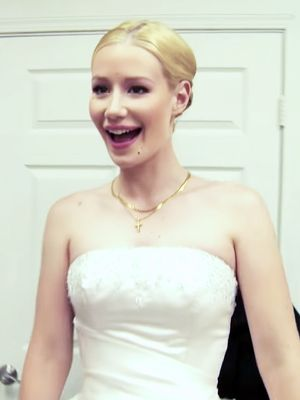 Watch Iggy Azalea and James Corden Try On Wedding Dresses