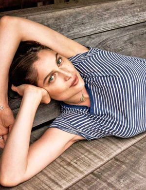Laetitia Casta Is Fresh-Faced And Casual In Stripes For Elle France