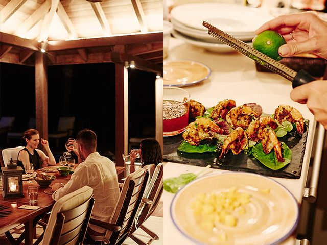 To ensure the first night on the island was a memorable one, Power enlisted a private chef to prepare a gorgeous four-course Caribbean dinner on the terrace for her party.