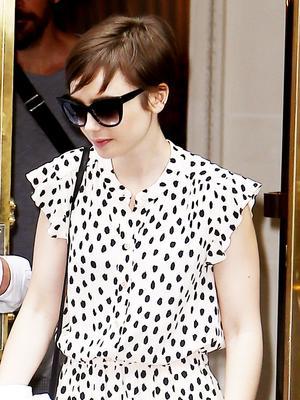 Lily Collins's Parisian Polka Dots