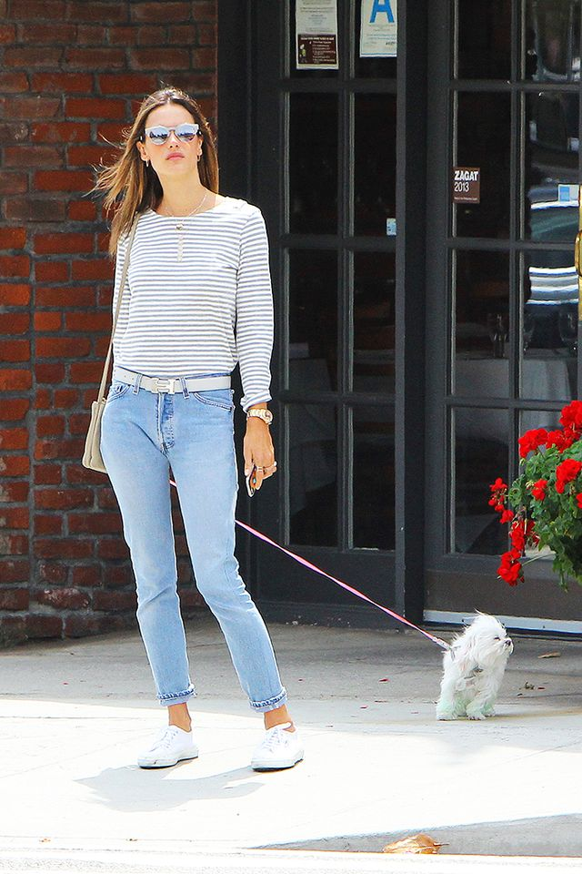 On Alessandra Ambrosio: Superga Classic Sneakers ($65) in White; Sunday Somewhere Soelae Metal Sunglasses ($290).