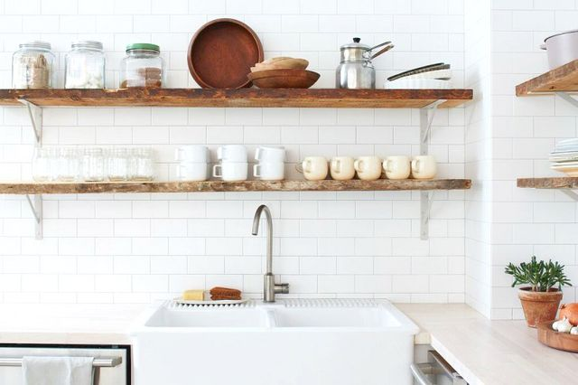 In this office kitchen, wood IKEA countertops offer professional butcher-block appeal at a fraction of the cost.