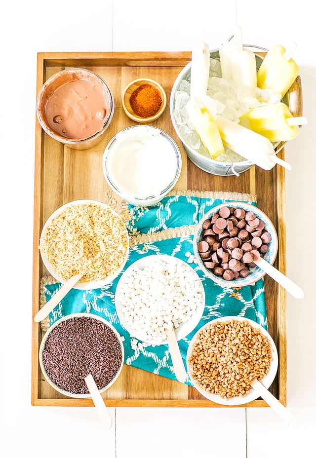 """""""Prepare a tray with small bowls of toppings like chocolate sprinkles, toasted coconut shavings, mini marshmallows, mini peanut butter cups, or anything else that would taste delicious on a..."""