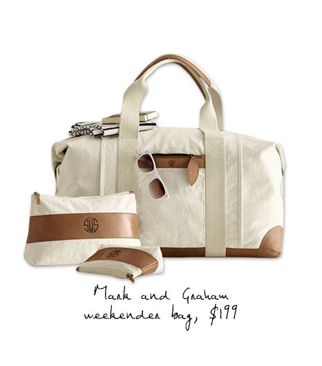 Mark and Graham Canvas with Leather Weekender Bag