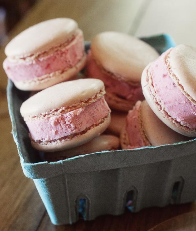 Strawberry Sour Cream Ice Cream Sandwiches