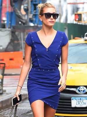 Hailey Baldwin Makes a Case for the Little Blue Dress