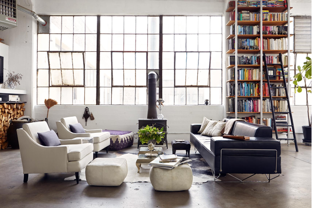 A library ladder looks especially cool in this loft space.