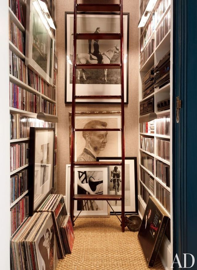 Who says library ladders are only for books? Why not use them to access your records and other tunes?