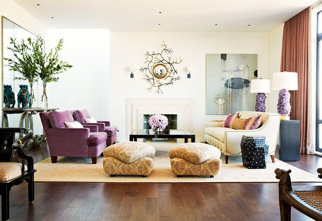 """""""My biggest pet peeve is seeing a design with an area rug the size of a postage stamp. So many people underscale a rug, which makes a room feel smaller and unbalanced. Dining chairs should..."""
