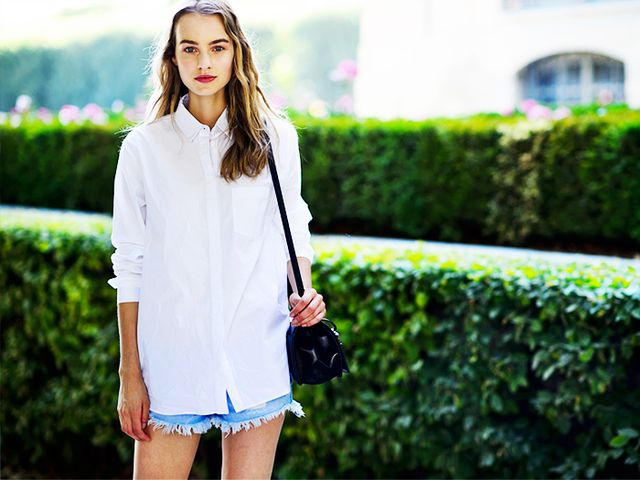 On Verhoef: Alexander Wang Button Down Shirt ($495) in White.