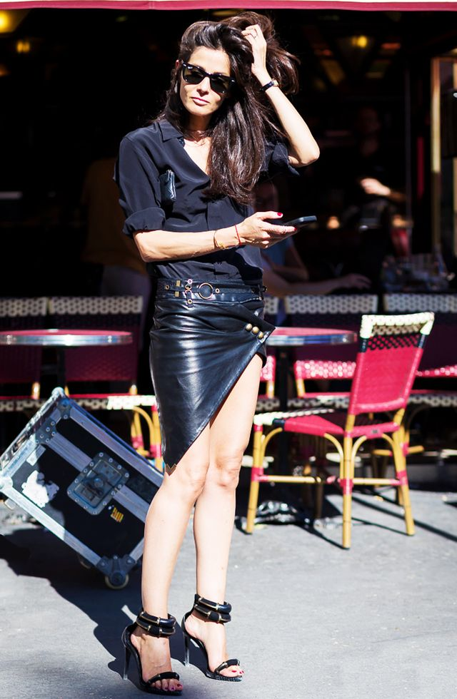 On Martelo: Ray-Ban Original Wayfarer Classic Sunglasses ($155); Anthony Vaccarello skirt.