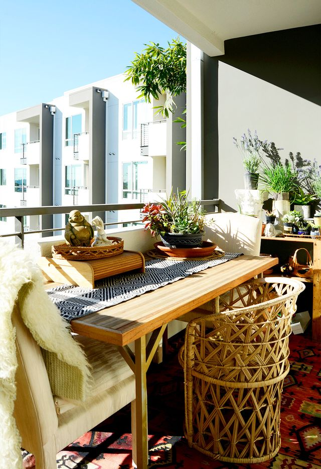 A sweet balcony serves as a perfect place for craft projects and more in Erica Reitman's L.A. apartment.<br />