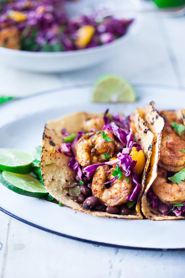 Caribbean Shrimp Tacos + Cuban Black Beans
