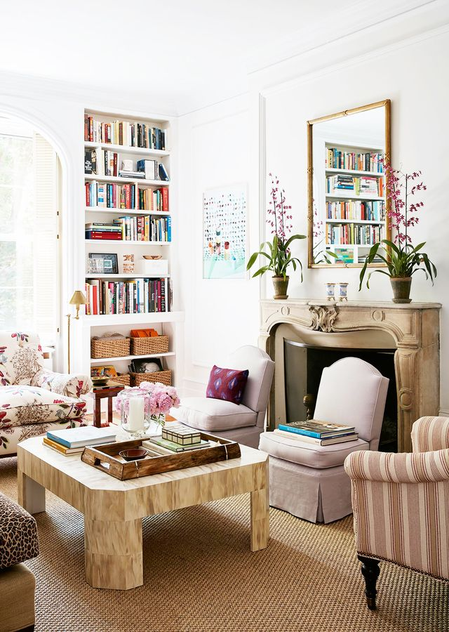 """One comfortable chair in particular inspired the look of the sophisticated space. """"I have always love Quadrille's """"Jardin des Plantes"""" print, and I knew that I wanted to..."""