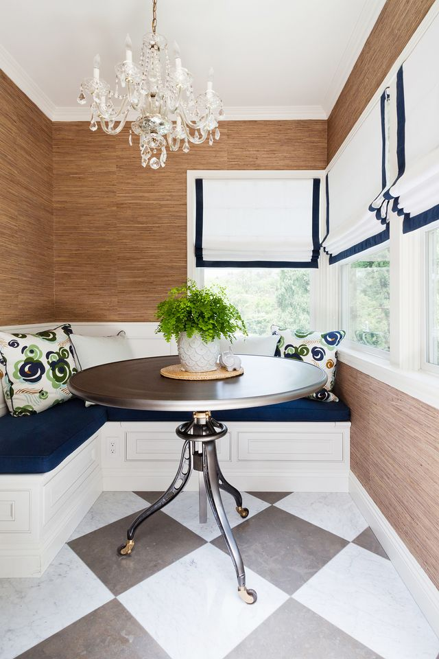 current of blue, be it a dark denim rug, soft blue kitchen cabinets